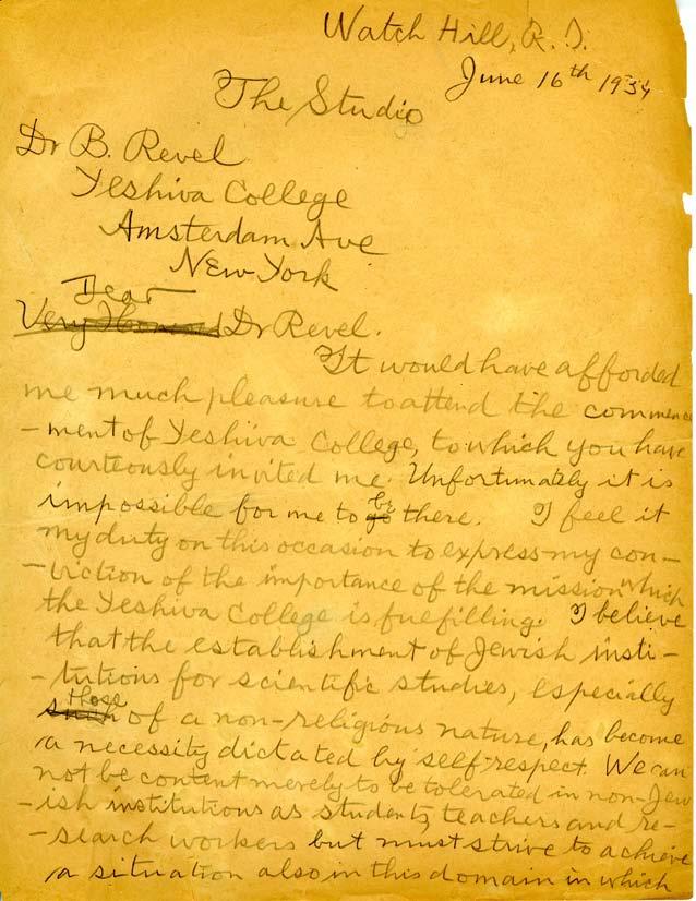 Yeshiva Courts Einstein letter