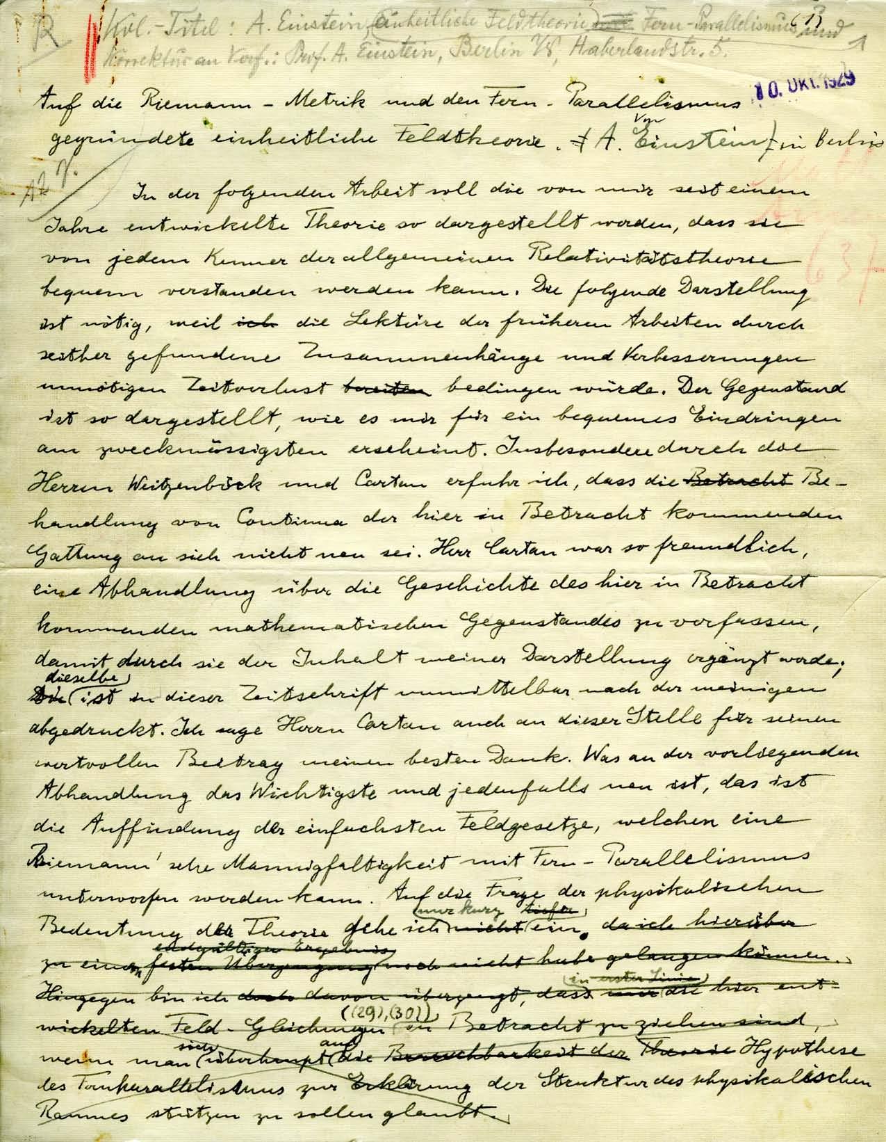 Yeshiva University's Einstein Manuscript