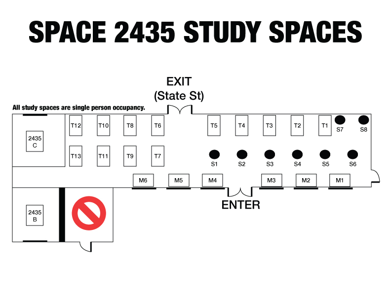 Layout of reservable study spaces in Space 2435