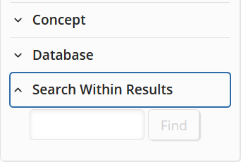 'Search Within Results' box, opened at bottom of SciFinder-n filters column for a references search