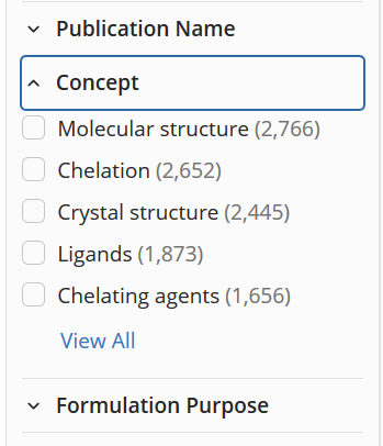 Concept filter lists 5 descriptors and number of search results in parentheses, in descending order of frequency.