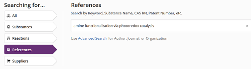 SciFinder-N screenshot. References option selected and topic typed in search box.