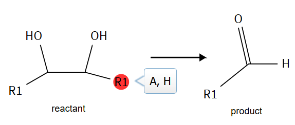 Reaction drawing: glycol reactant converting to aldehyde product. A user-defined R-group is highlighted. Tooltip contains definition: A (any atom except H), H.