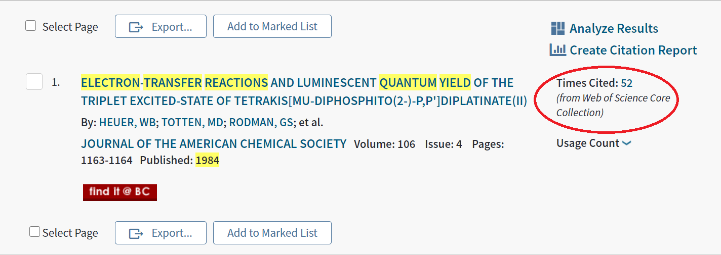 Web of Science search result for a 1984 article, cited 52 times. Citation link circled in red.