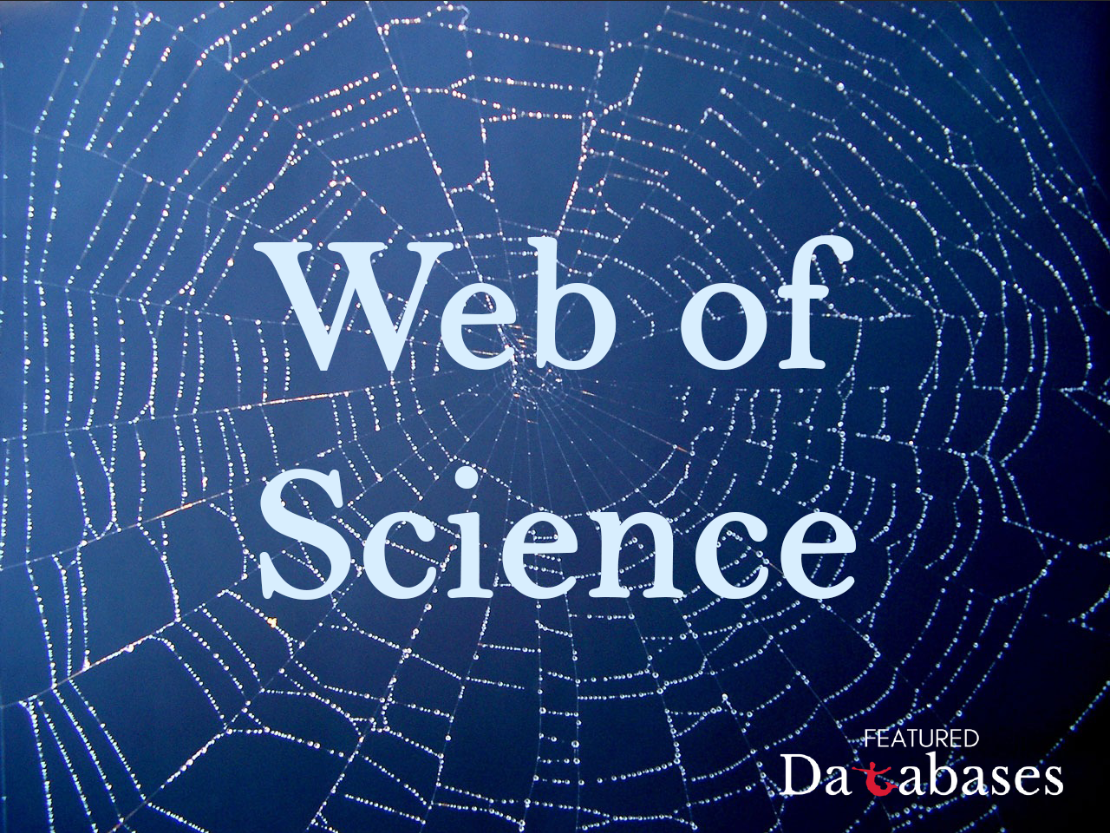 Web of Science on blue web. Ft. Databases logo