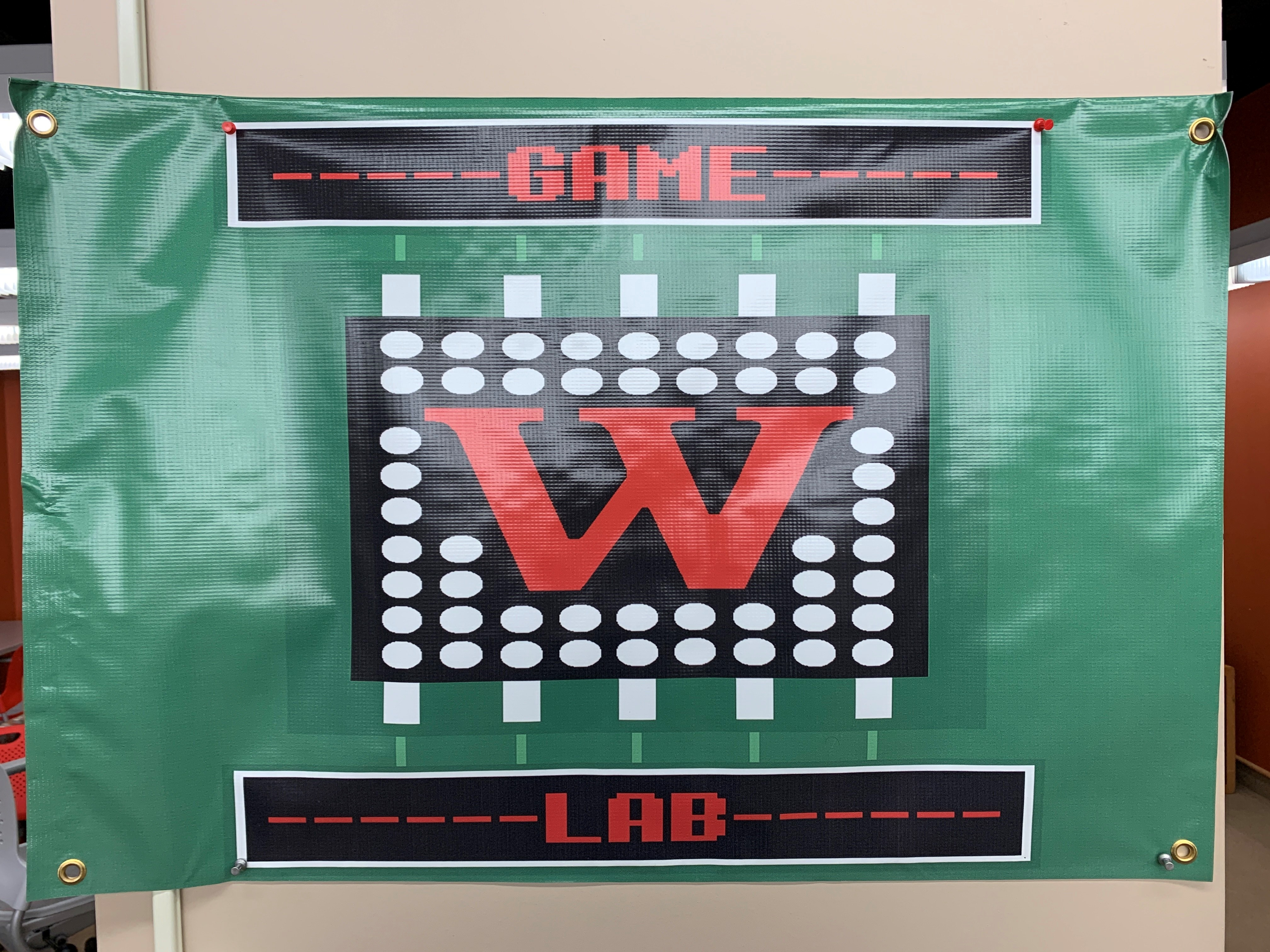 Pixelated Game Lab over football field