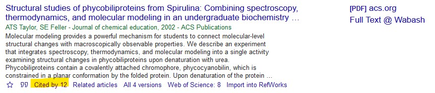 Google scholar result with Cited by link highlighted