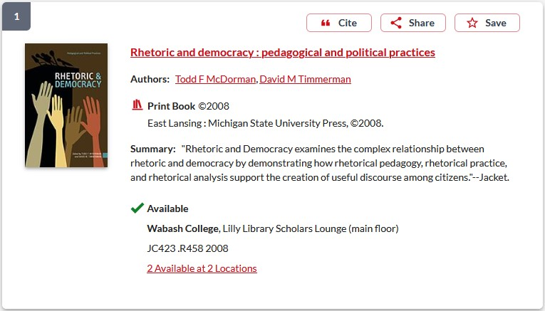 Screenshot of book in library catalog