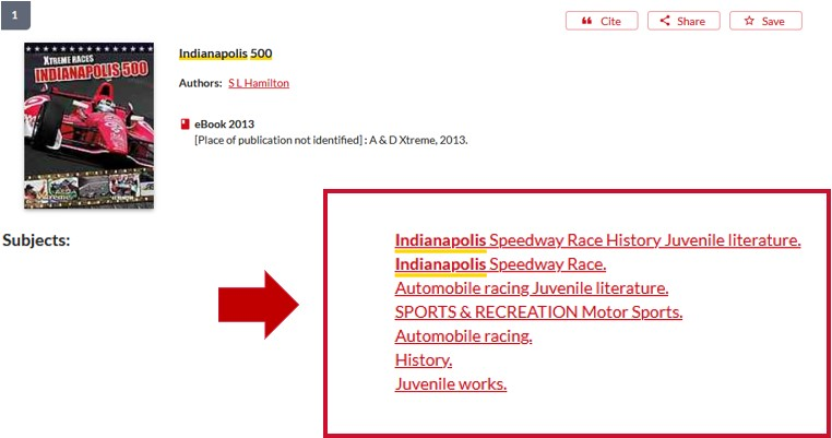 """Subject headings Indianapolis Speedway Race illustrated for book """"Indianapolis 500"""""""