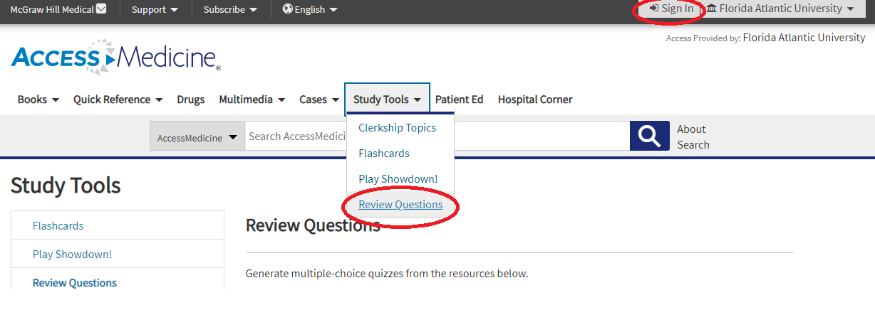 From the AccesMedicine home page click on Study Tools and choose Review Questions. To save results, sign in with a free MyAccess Profile.