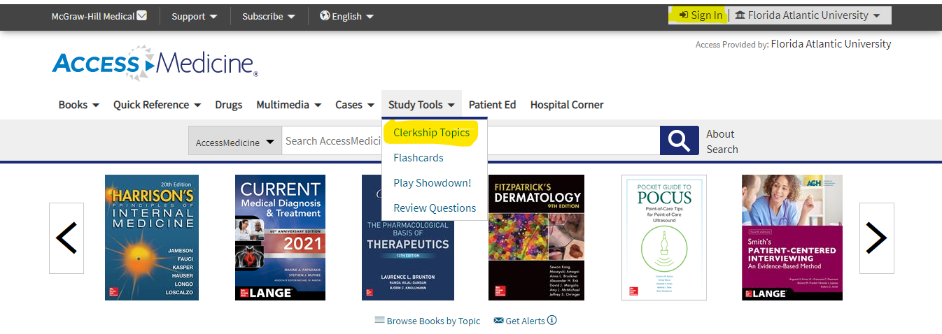 From the AccessMedicine home page click on Study Tools and then Clerkship Topics