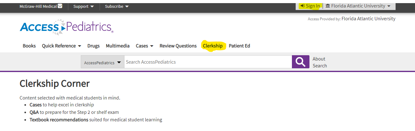 On the AccessPediatrics homepage, click on the Clerkship tab.