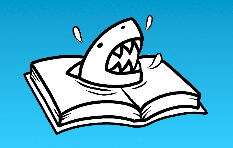 A shark attacks from the pages of a printed book