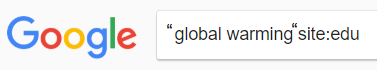 """search of """"global warming"""" site:.edu"""