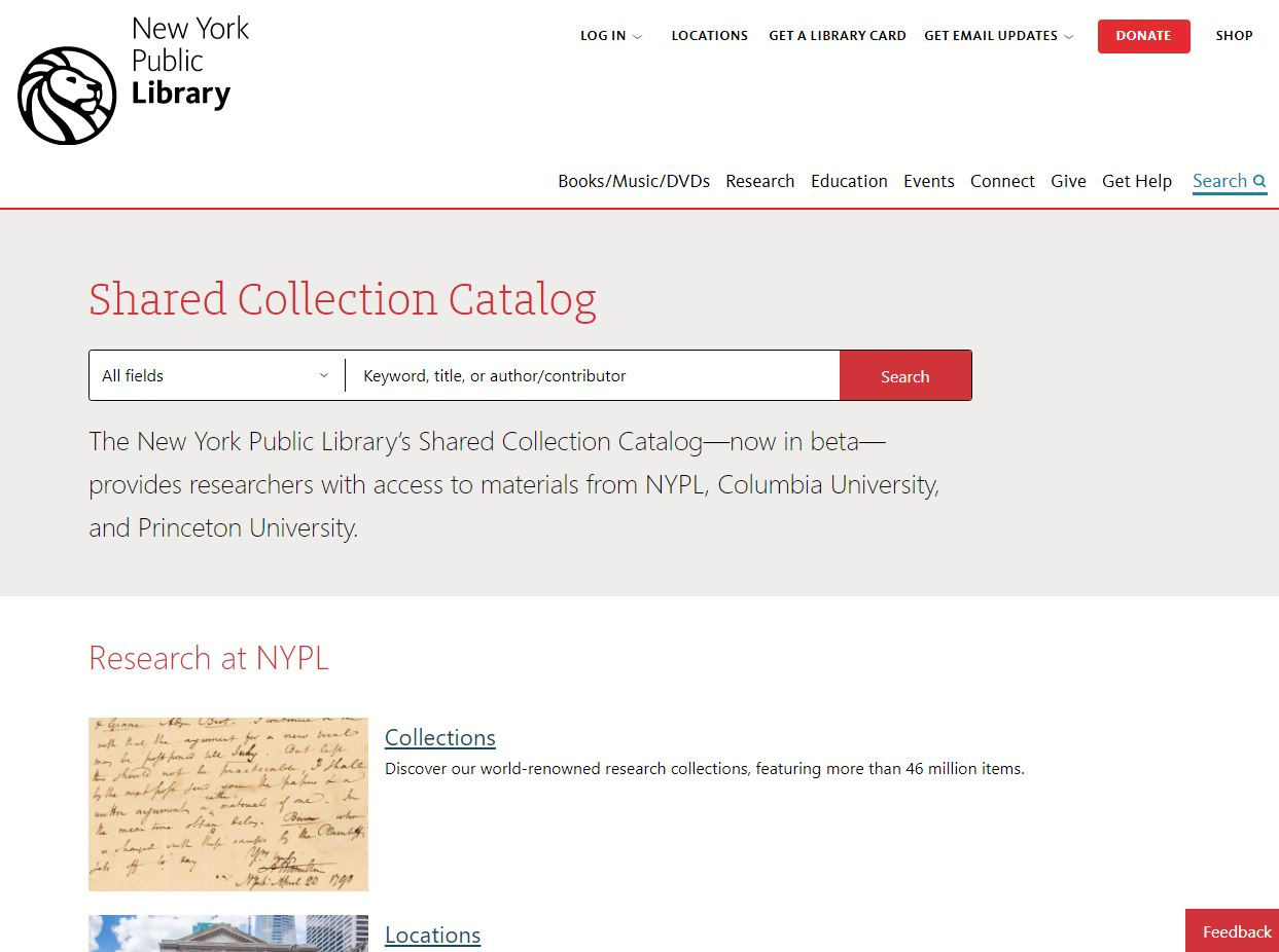 New York Public Library Shared Catalog