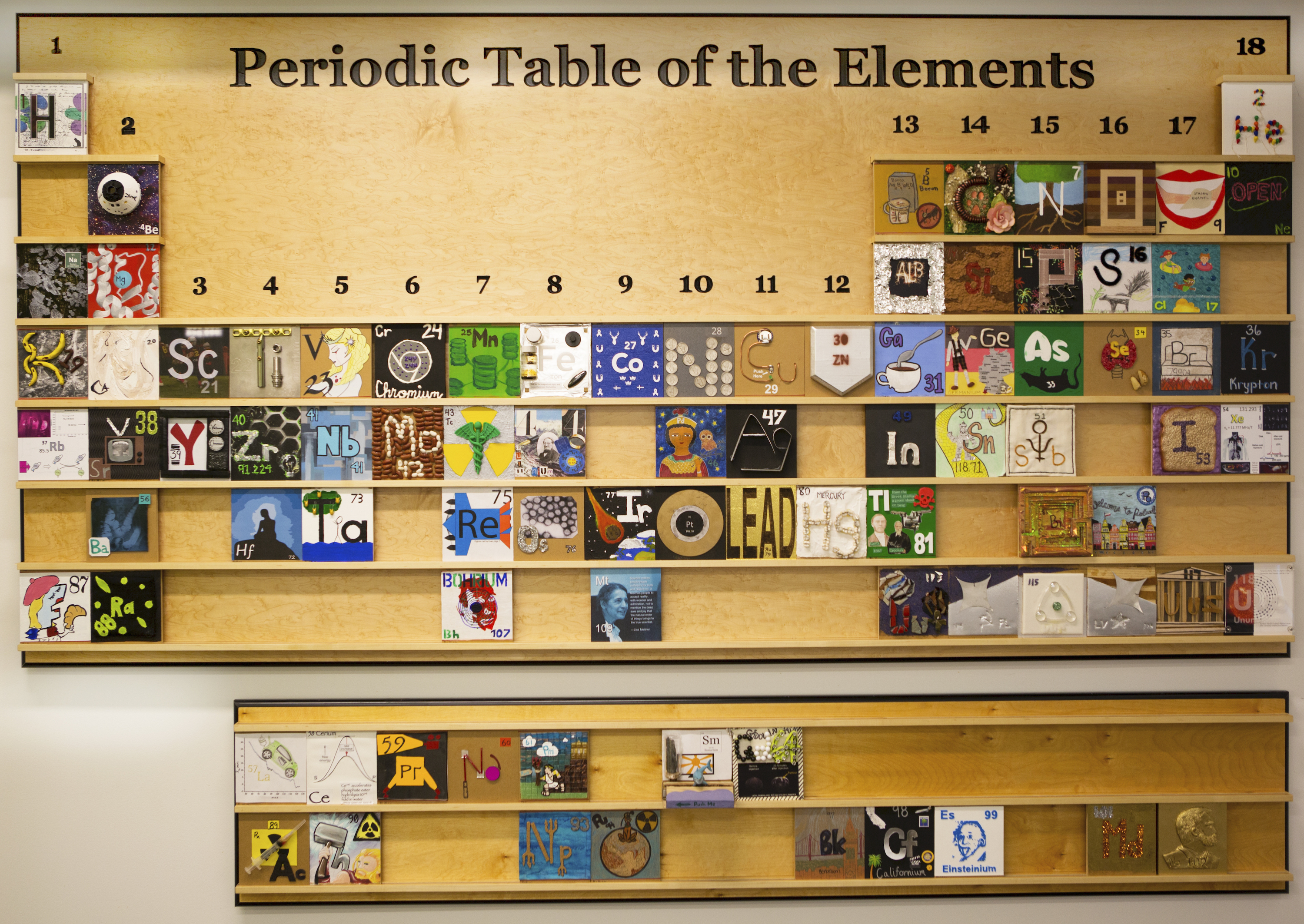 a periodic table of elements on the wall