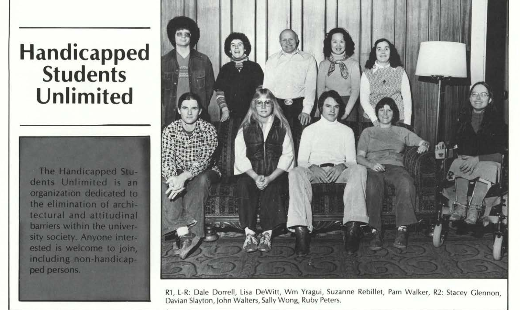 A black and white page from the 1979 OSU publication The Beaver featuring an entry on Handicapped Students Unlimited. It is accompanied by a photo of ten HSU members.