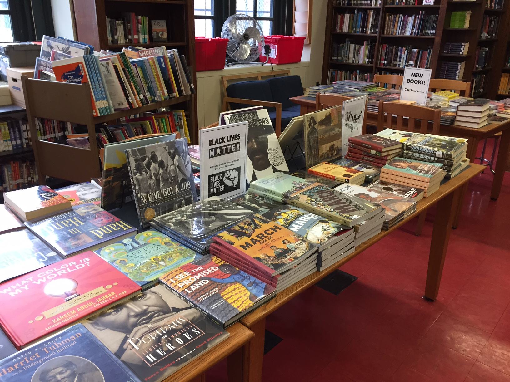 Books on display for Black History Month