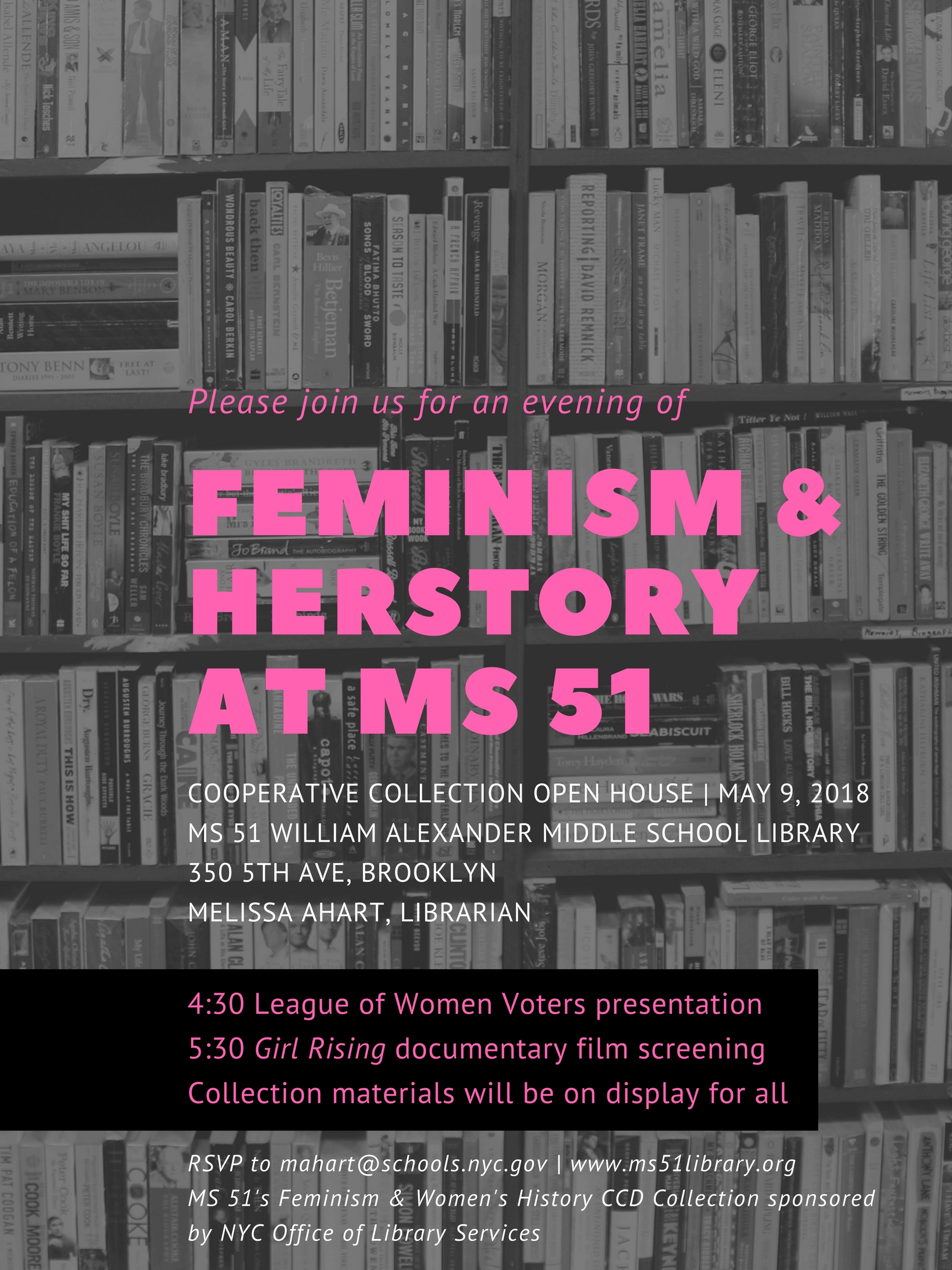 Feminism & Herstory at MS 51 open house flyer