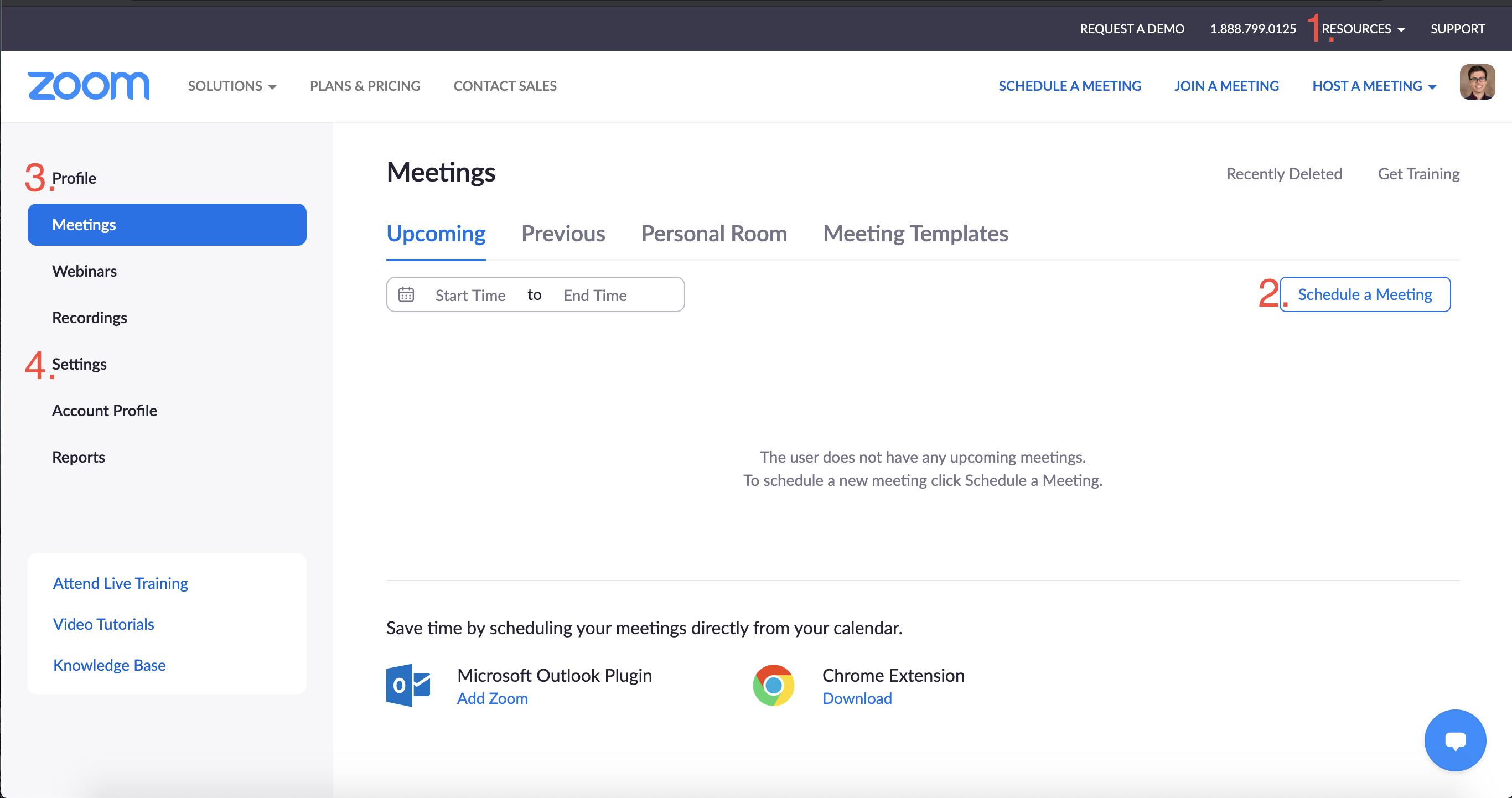 A screenshot of the Zoom web interface at the Meetings menu option