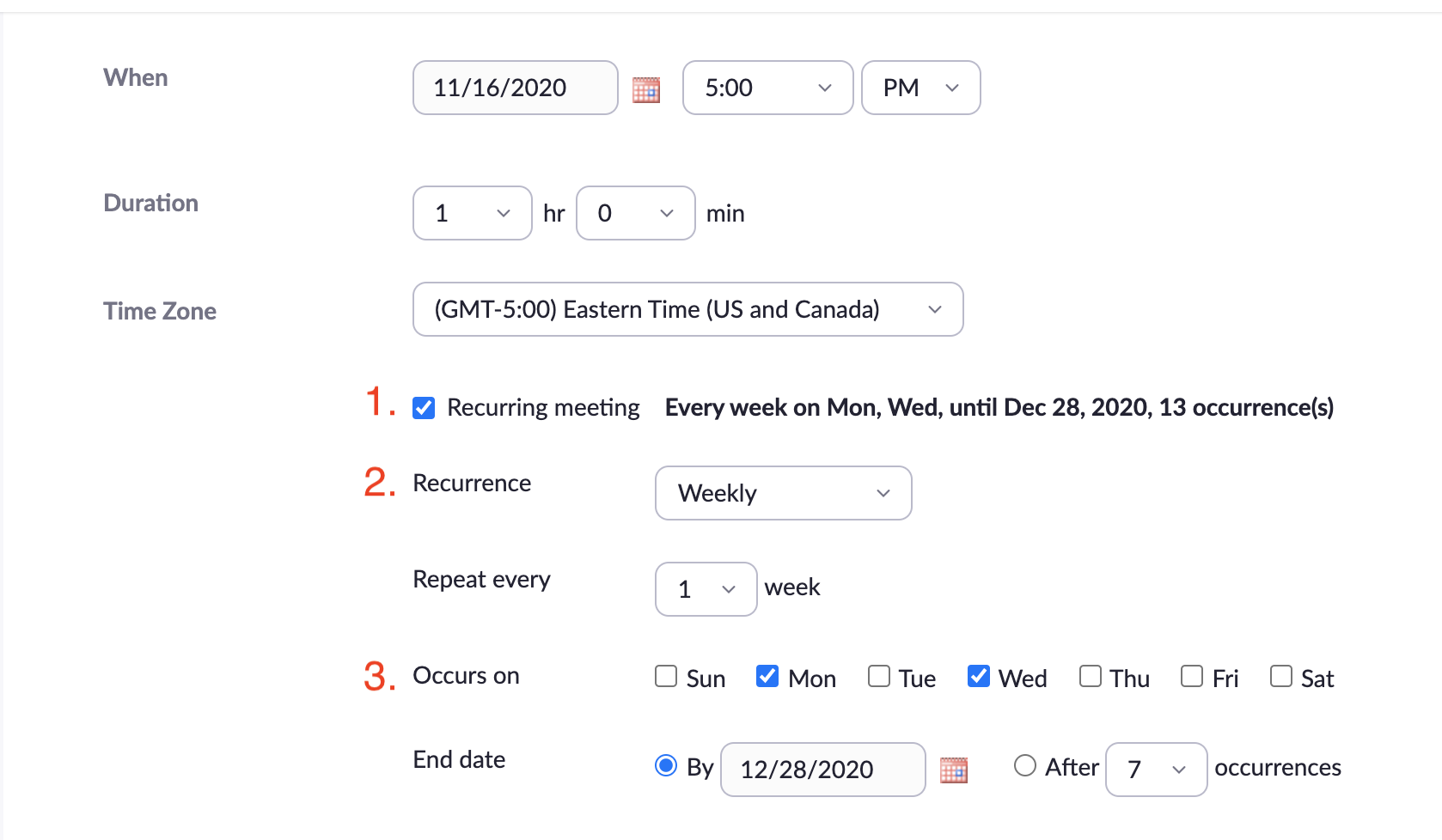 Zoom options for a recurring meeting