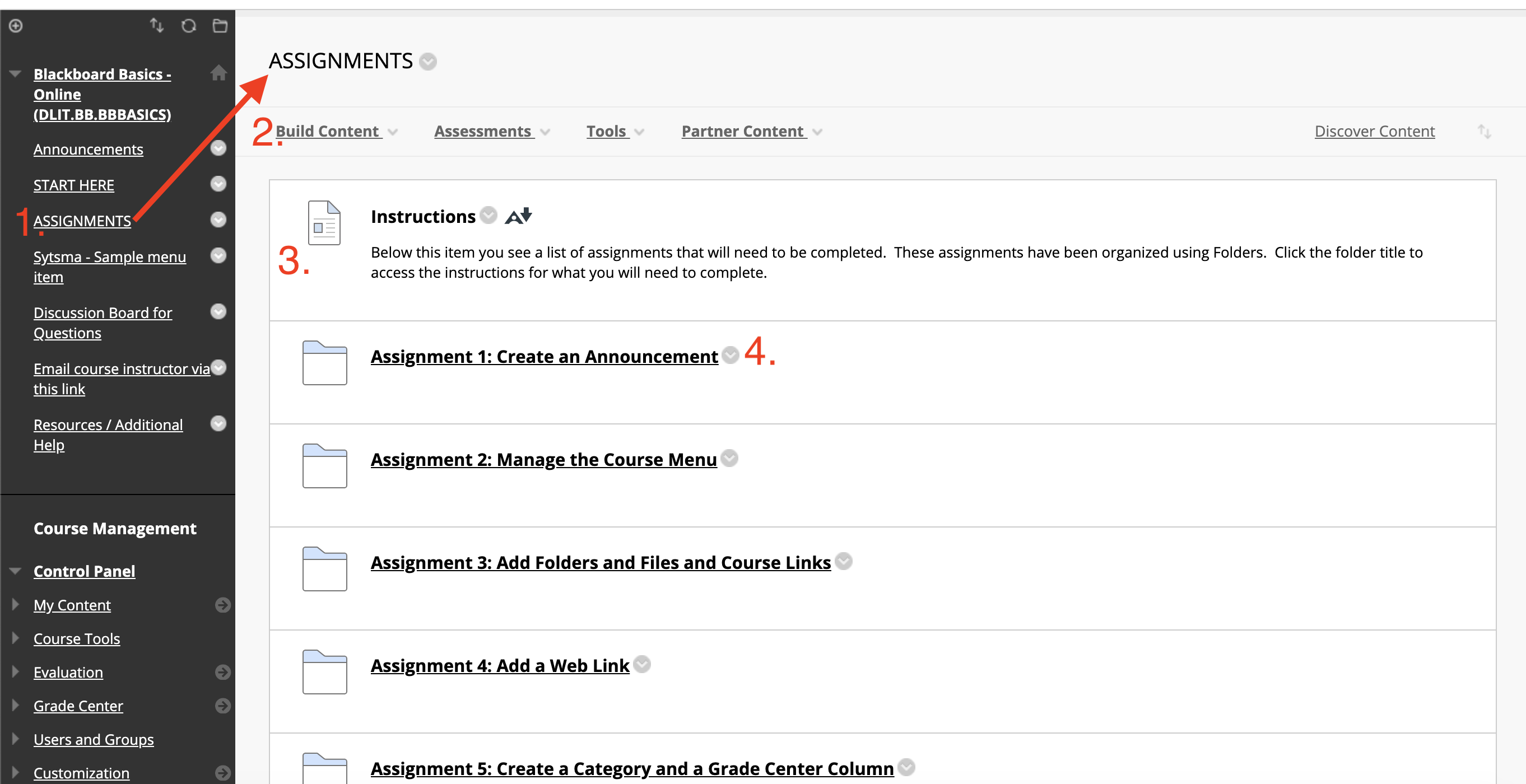 A Blackboard ASSIGNMENTS content area