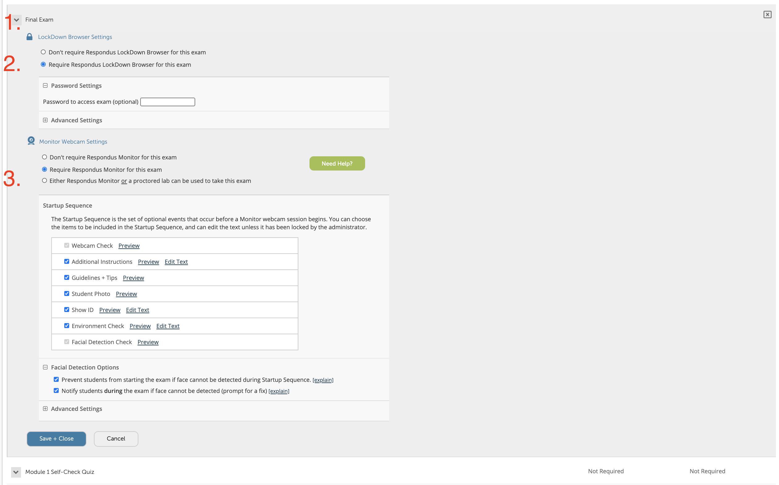 The Respondus Lockdown Browser settings in Blackboard