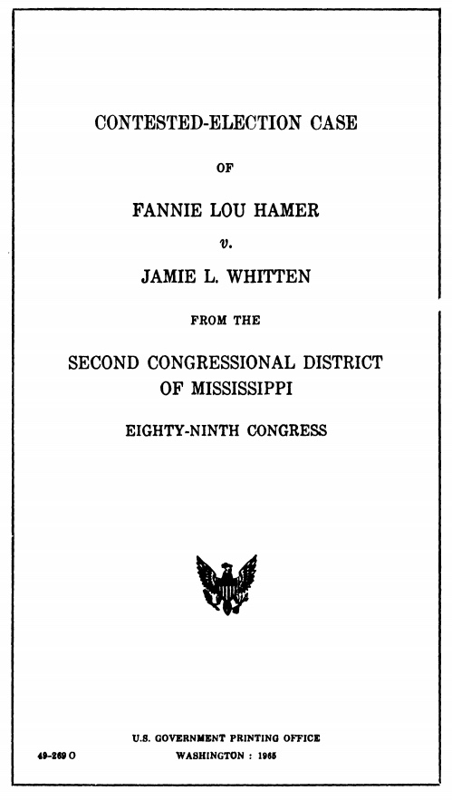 Cover of Congressional Publication of the contested election case of Hamer and Jamie L. Whitten