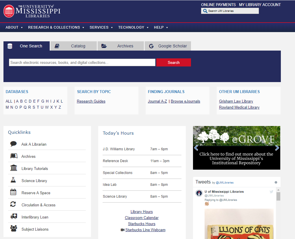 University of Mississippi Libraries homepage