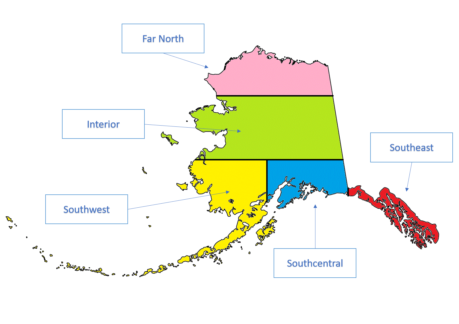 Map of Alaska regions with Digitized Newspapers