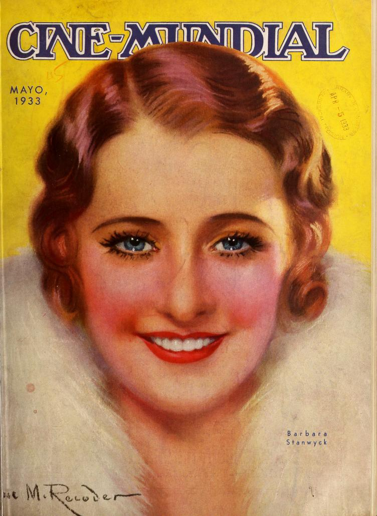 Cover of May 1933 Cine-Mundial magazine featuring Barbara Stanwyck