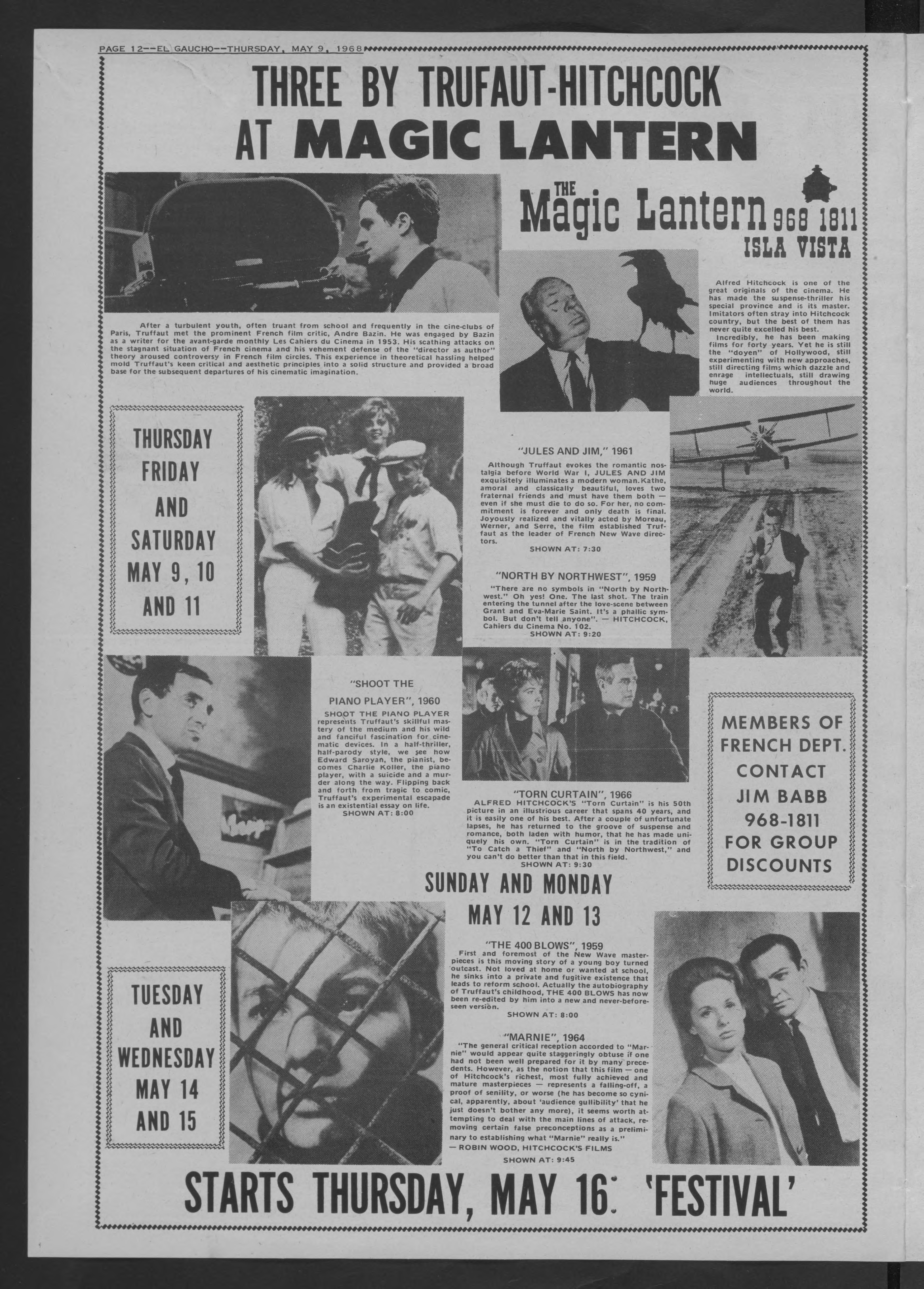 Newspaper advertisement for a Truffaut and Hitchcock festival at The Magic Lantenr in Isla Vista starting May 16 1968