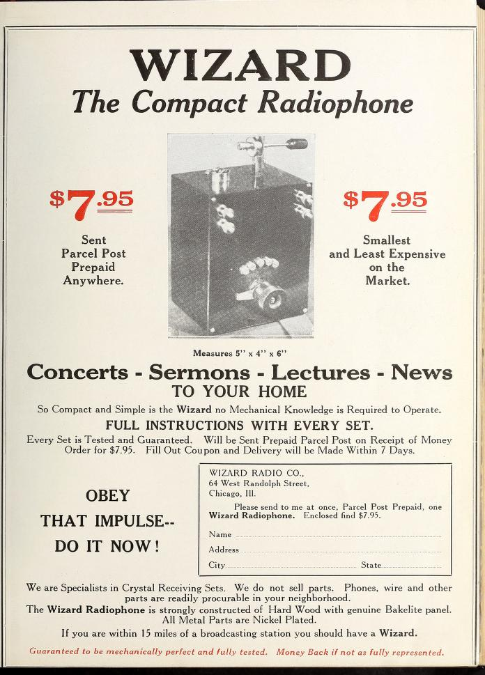 Advertisement for the Wizard Compact Radiophone