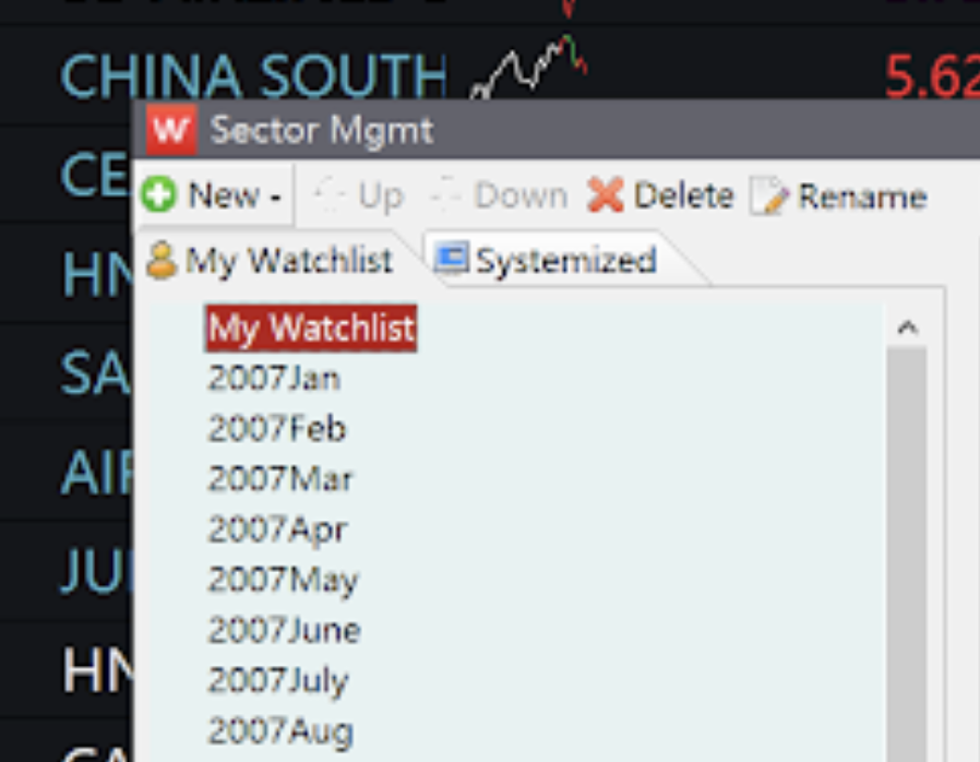 To name your list, click on the green icon of New, which is above the tab label of My Watchlist.