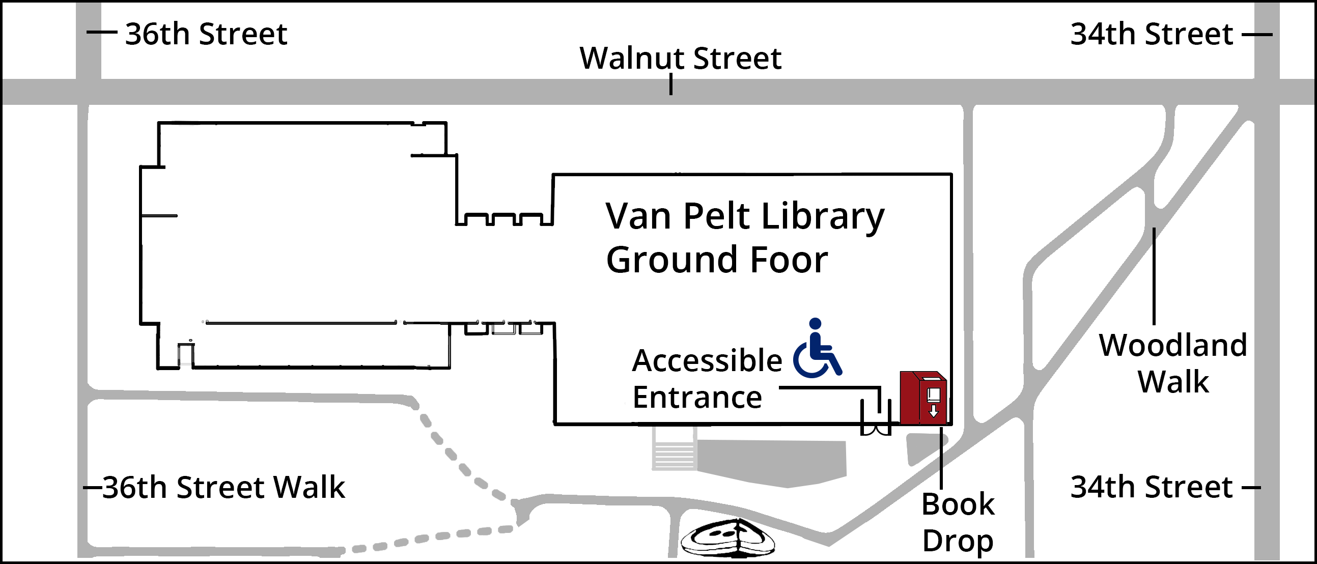 Van Pelt Book Drop and Accessible Entrance Map