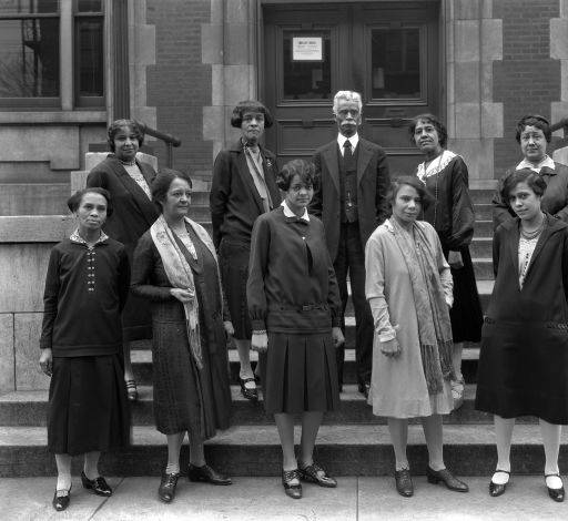 Thomas Blue and the staff of Western Branch, Louisville Free Public Library in 1927.