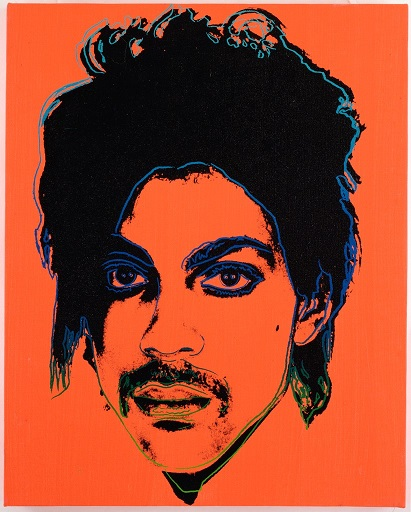 Image of a Warhol print based on a photograph of Prince taken by Lynn Goldsmith.