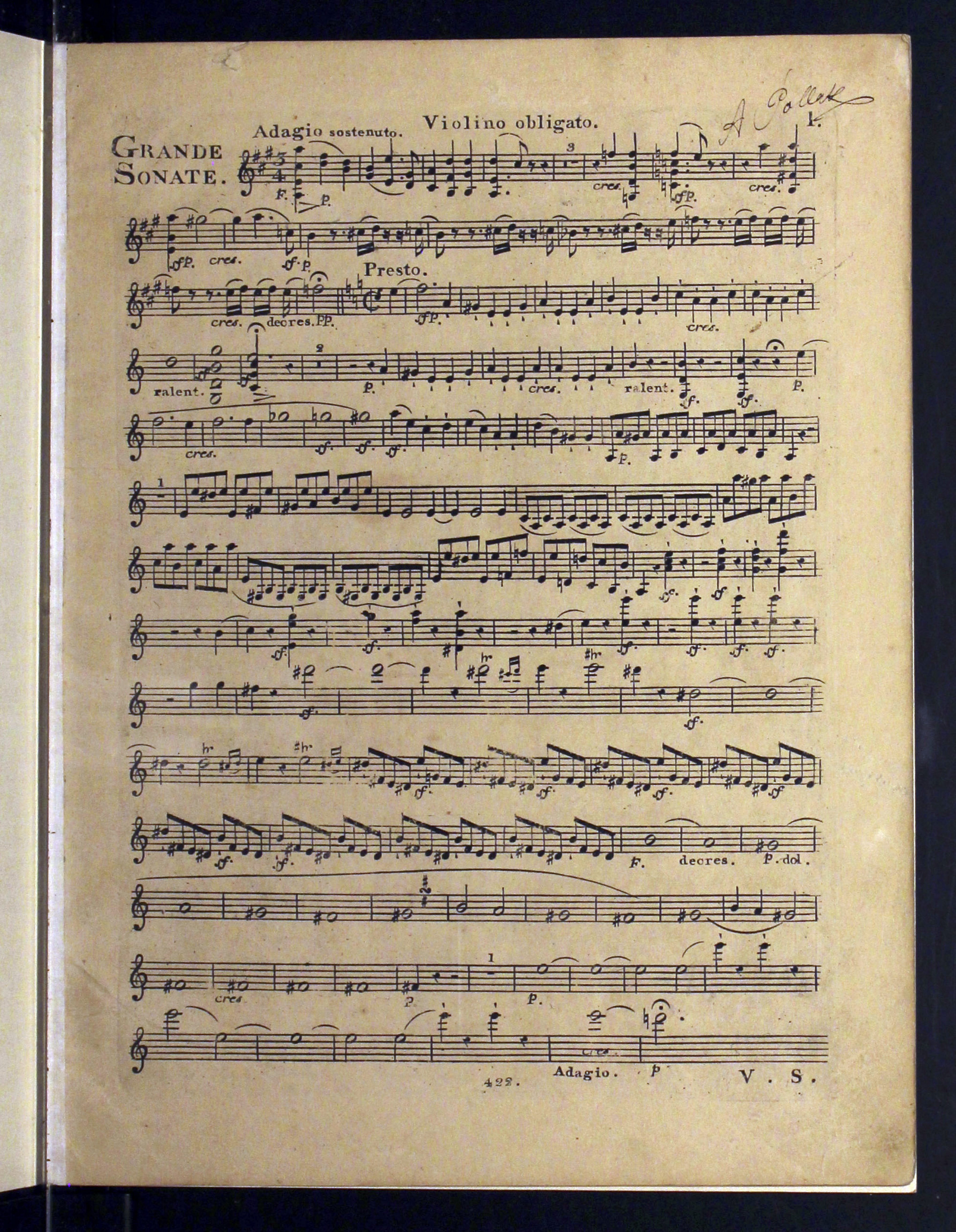 First Page of the Kreutzer Sonata