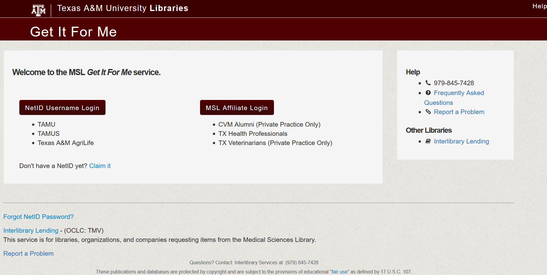 Med Sci Lib Get It For Me welcome page