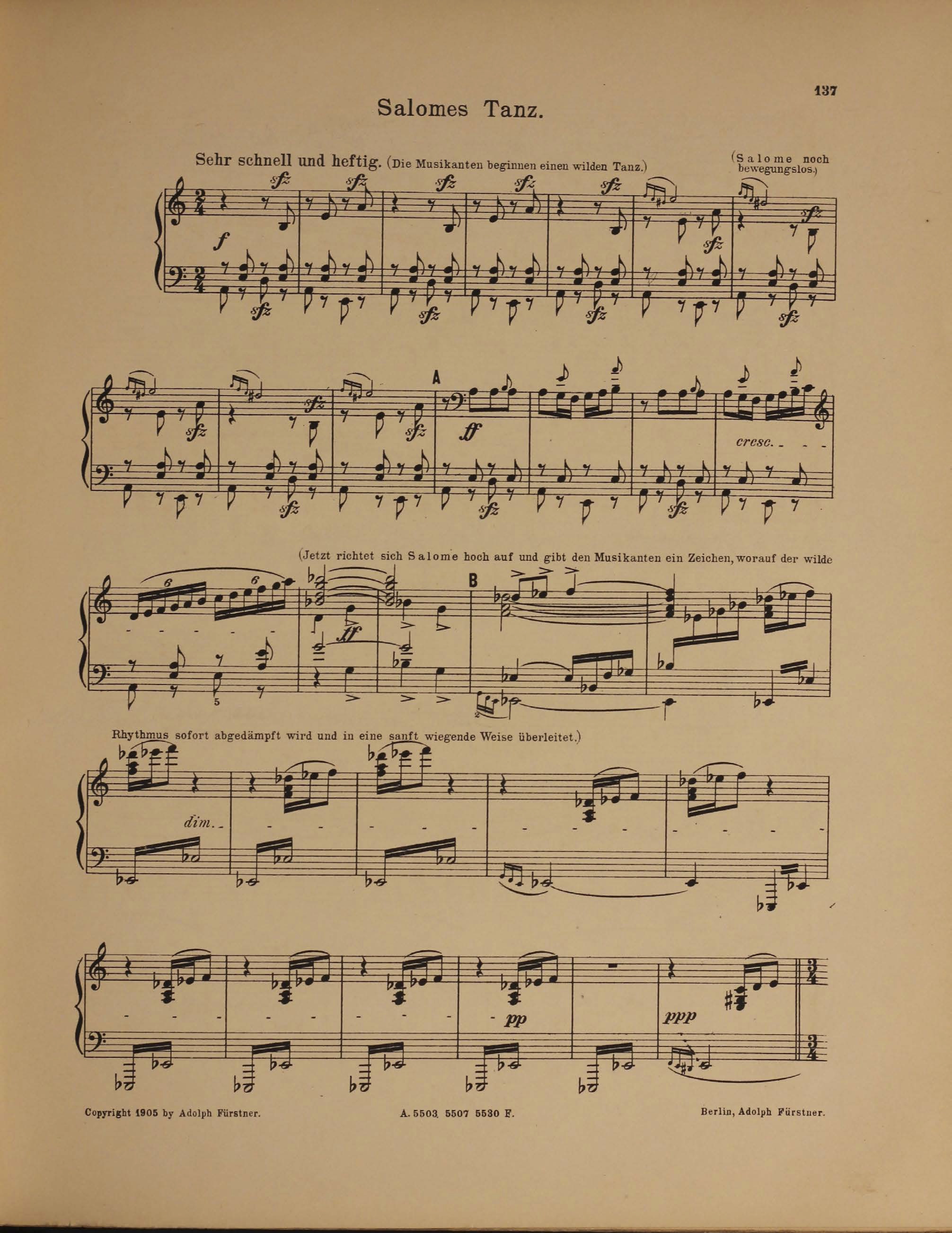 Score of Salome's Dance of the Seven Veils