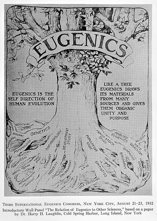 """A decade of progress in Eugenics. Scientific papers of the Third International Congress of Eugenics held at American Museum of Natural History, New York, August 21-23, 1932. Baltimore: The Williams & Watkins company, 1934. Wall panel showing """"The Relation of Eugenics to Other Sciences"""", based on a paper by Dr. Harry H. Laughlin."""