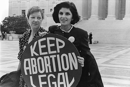Jane Roe and her lawyer Gloria Allred on the steps of the Supreme Court 1989 taken by Lorie Shaull.