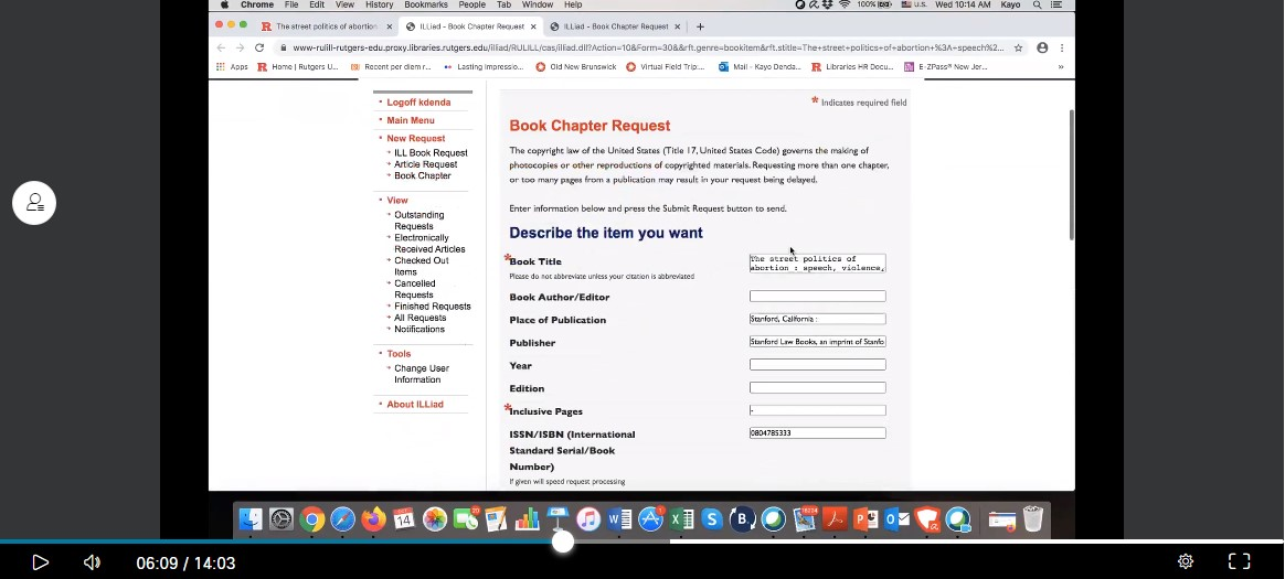 Chapter Delivery form