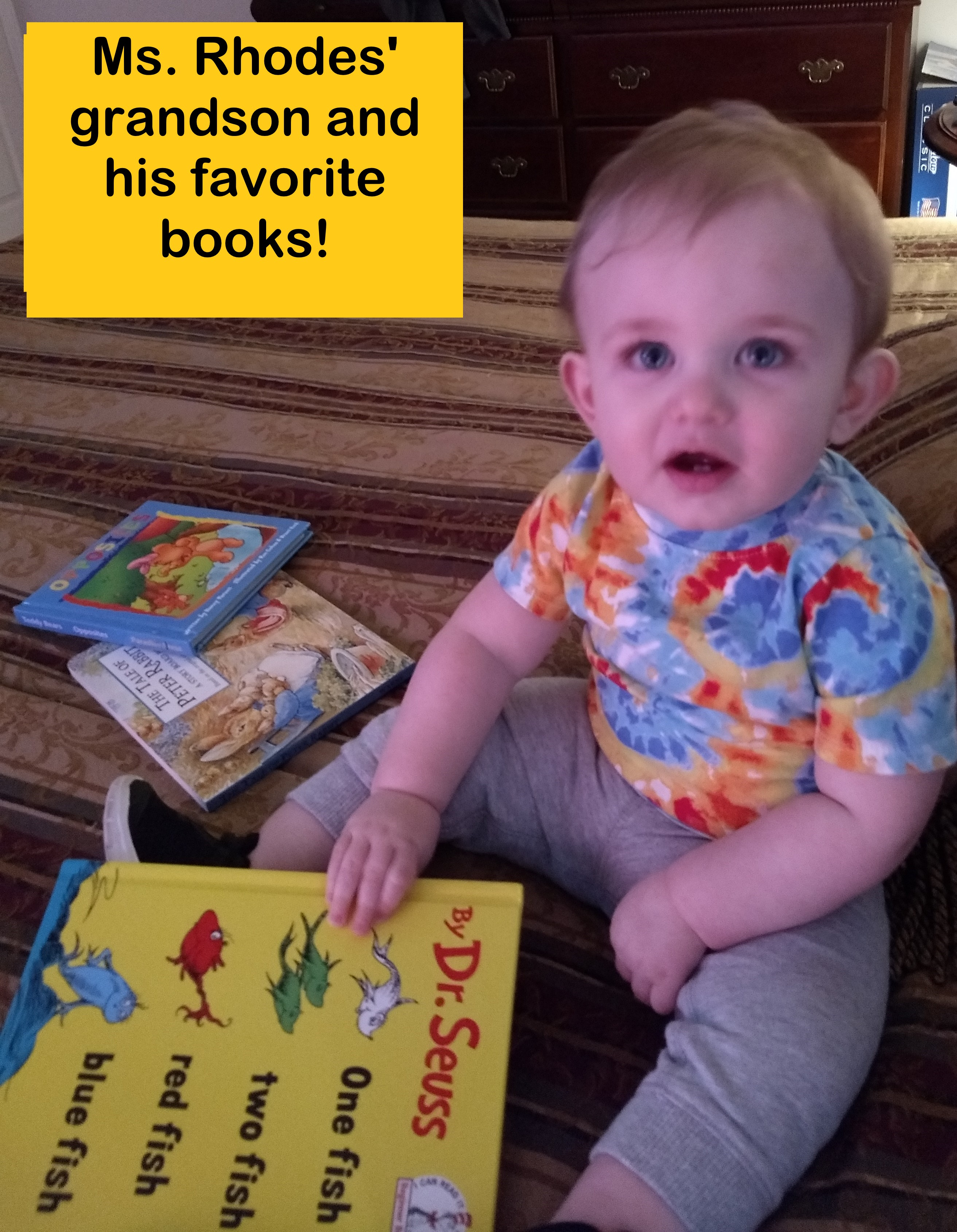 Ms. Rhodes' grandson and his favorite books!