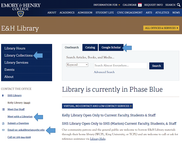 E&H Library Homepage