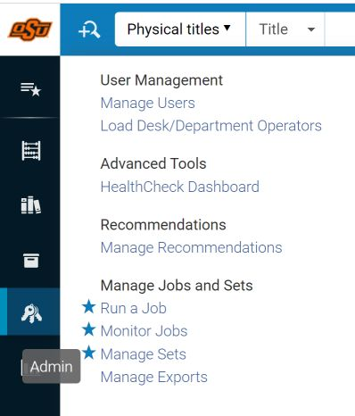Navigate to Manage Sets