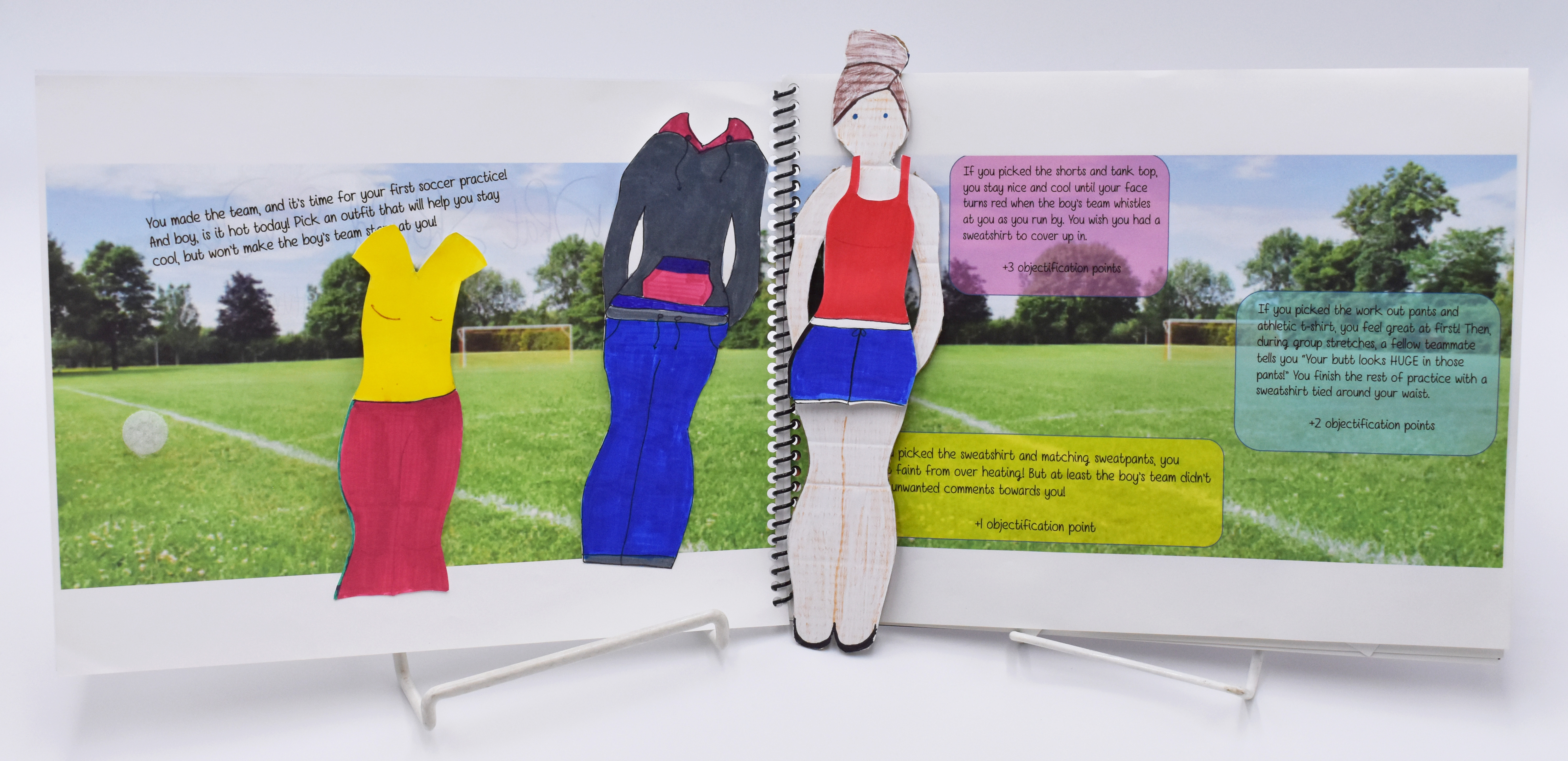 Image of open book with a paper doll and different outfits