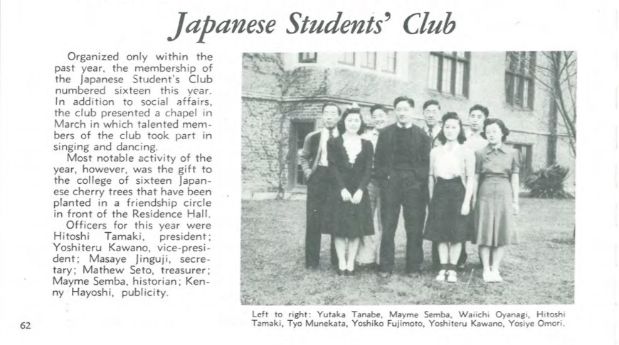 Article about the Japanese Students' Club at Puget Sound with photo of group