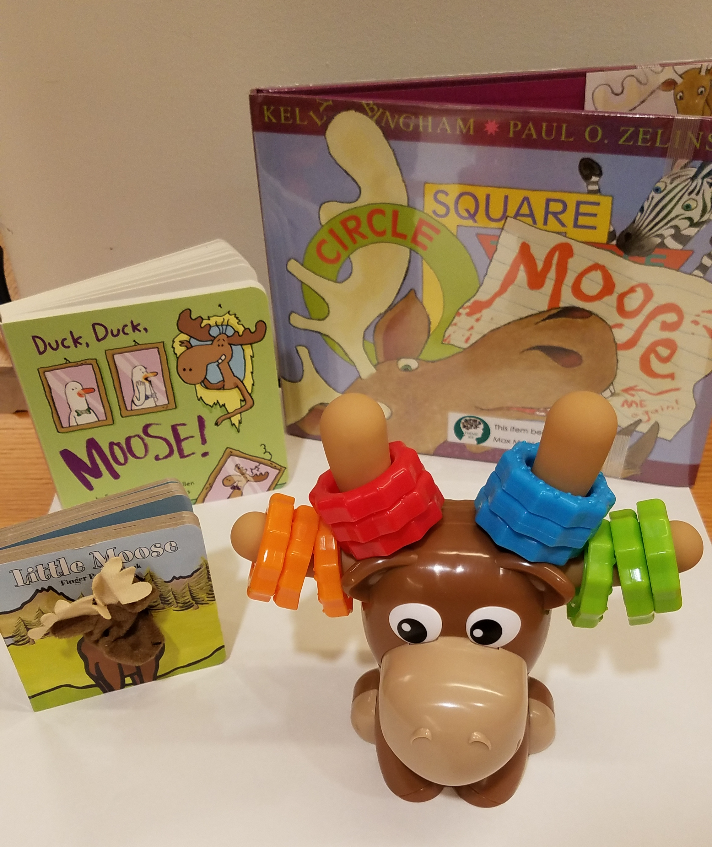 Max the Moose with books about Moose