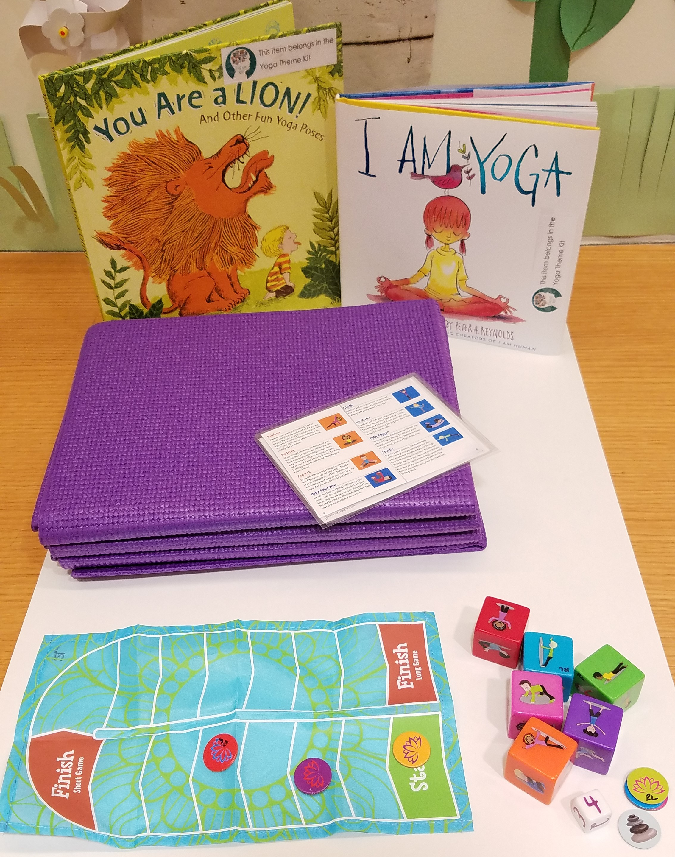 Yoga dice game, foldable yoga mat and yoga activity books